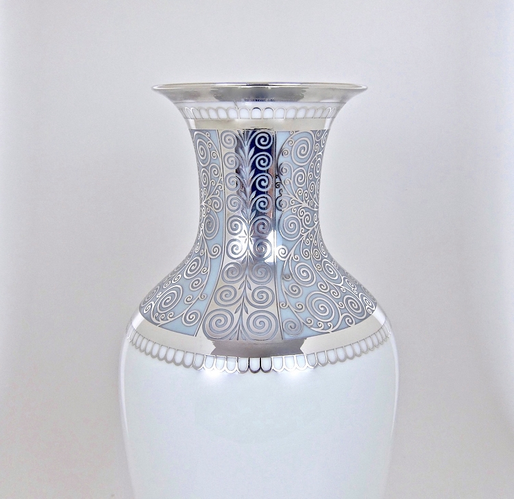 Large Rosenthal Porcelain Vase with Pure Silver Overlay