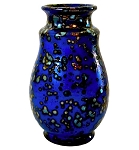 Blue Luster Art Pottery Vase with Crystalline Glaze