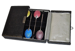 Turner & Simpson Sterling Silver & Enamel Vintage Spoons, Set of 6