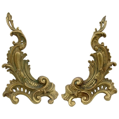 Antique Louis XV Style Pair of Fireplace Chenets or Andirons