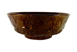 Antique Copper Luster Centerpiece Bowl with Deer