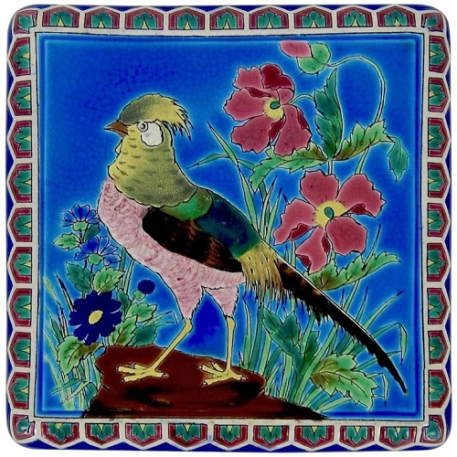 ON HOLD — Antique French Faience Emaux de Longwy Trivet with Cloisonné Style Bird Decor