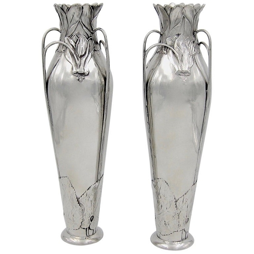 Kayserzinn Polished Pewter Jugendstil Vase Pair, 1898-1900