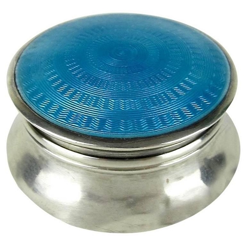 Lawrence Emanuel Edwardian Sterling Silver Pill Box with Guilloche Enamel