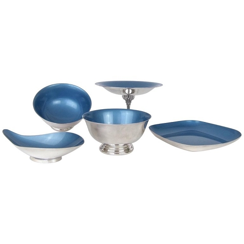 Reed & Barton Mid-Century Blue Color Glaze Silver Plate Collection