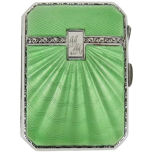 Sterling Silver and Guilloche Enamel Joseph Gloster Art Deco Cigarette Case