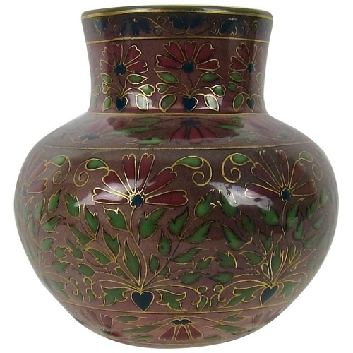 Antique Zsolnay Pecs Porcelain Faience Vase with Cloisonne-Style Decor