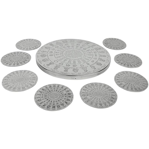 Christofle Gallia Fermiers Généraux Large Trivet and Eight Coasters