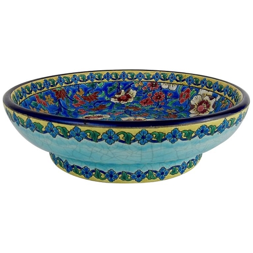 Large Longwy French Faience Footed Bowl from the Art Deco Period