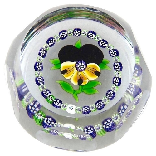 J Glass Faceted Pansy Paperweight with Millefiori Garland, 1980 Limited Edition