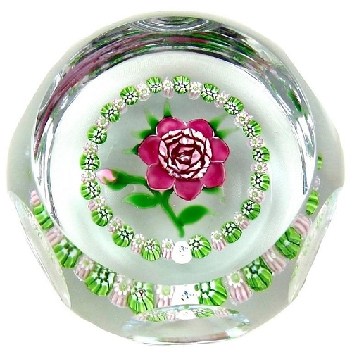 J Glass Faceted Rose Paperweight with Millefiori Garland, 1980 Limited Edition