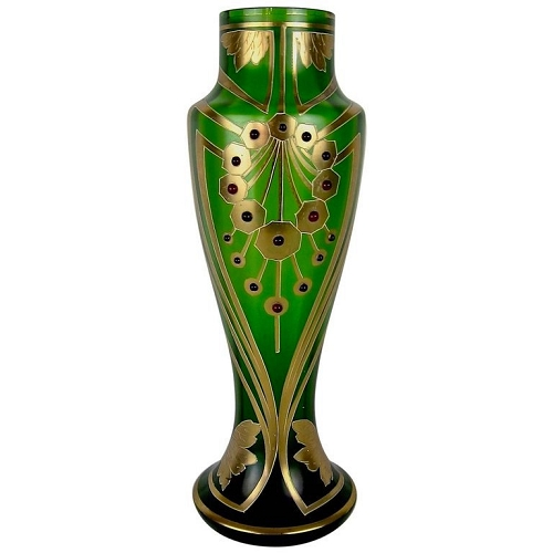 Jeweled and Enameled Bohemian Glass Vase in Green and Gold