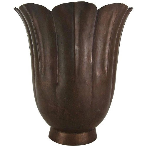Arts and Crafts Fluted Vase with Butterscotch Patina by Marie Zimmermann