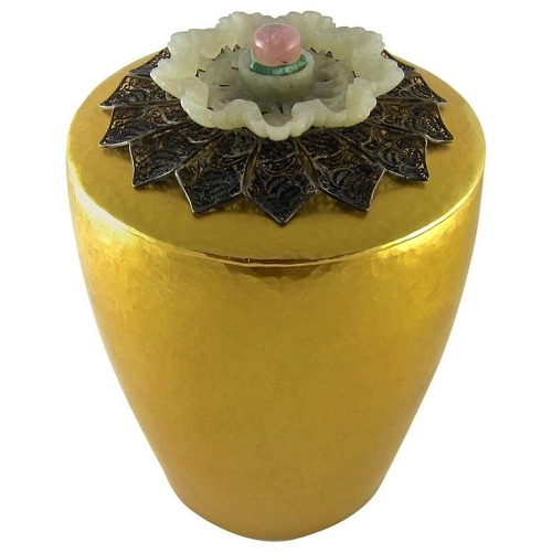 Marie Zimmermann Gilt Covered Box with Elaborate Jeweled Antique Jade Finial