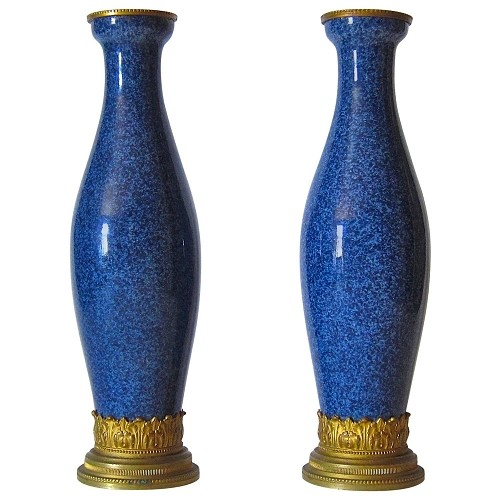 French Neo-Classical Vase Pair with Ormolu Mounts by Paul Milet of Sèvres
