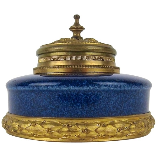 Paul Milet French Inkwell with Neoclassical Ormolu Mounts