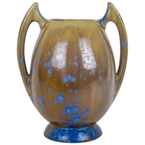 Pierrefonds French Art Nouveau Batwing Stoneware Vase with Crystalline Glaze