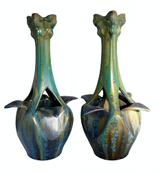 Pierrefonds French Art Nouveau Art Pottery Vases, Pair