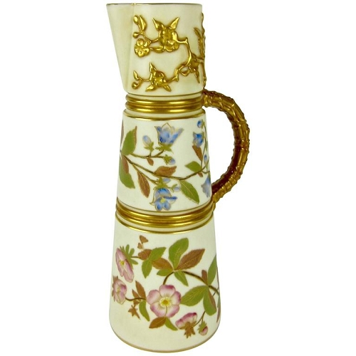 Antique English Royal Worcester Porcelain Ewer, 1884