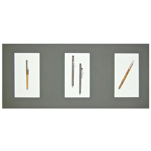 Three Original Jerome Gould Mixed Media Design Drawings for Writing Instruments