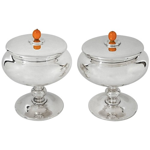 Marie Zimmermann Art Deco Covered Compote Pair with Bakelite Finials