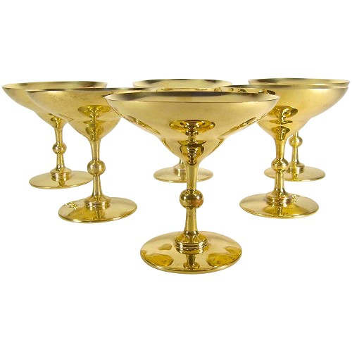 Marie Zimmermann Hollywood Regency Champagne Coupes in Silver Gilt, Set of 6