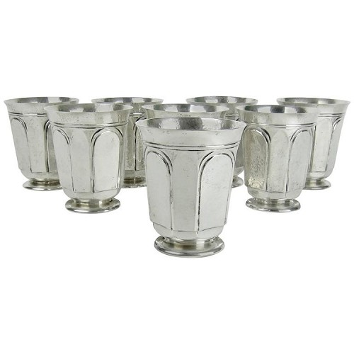 American Sterling Silver Arts and Crafts Tumblers by Marie Zimmermann