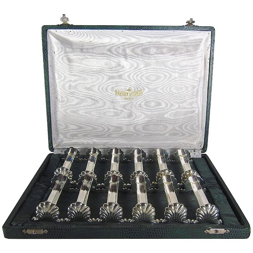 French Boxed Set of 12 Knife Rests in Metal Argente by Ravinet D'Enfert