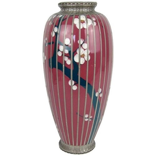 Early 20th Century Glazed Pottery Prunus Vase with Basket Weave Overlay
