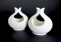 Eva Zeisel Tomorrow's Classic White Candle Holders for Hall China Co., Pair