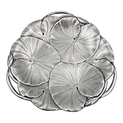 Art Nouveau Lily Pad Tray in Silver-Plate with Open Handles