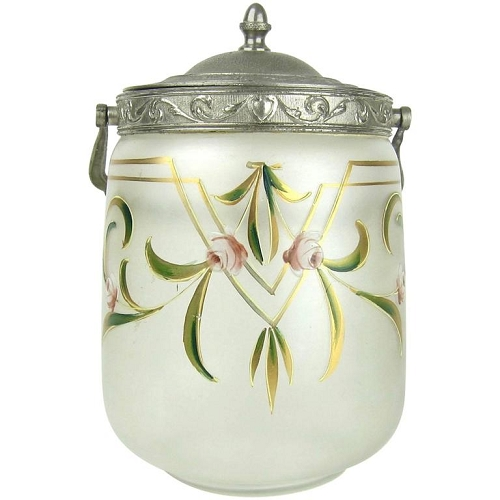 Antique Glass Biscuit Barrel / Cookie Jar with Art Nouveau Enamel Decoration