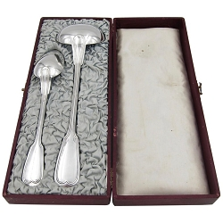 19th Century Christofle Large Serving Spoon and Ladle Boxed Set