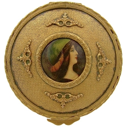 Antique French Gilt Bronze Vanity Box with an Enamel Portrait