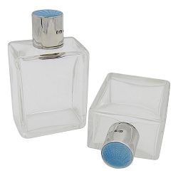English Art Deco Perfume Bottle Pair in Crystal, Sterling Silver and Blue Enamel