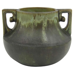 Early Fulper Pottery Vase with a Matte Leopard Skin Glaze and Scrolled Handles