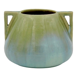 Vintage Fulper Pottery Double Handled Vase with a Green Flambe Glaze
