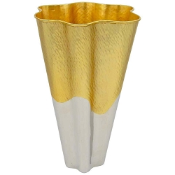 Large L'Objet Dualite Vase in Silver and Gold Metal, 13 in. H