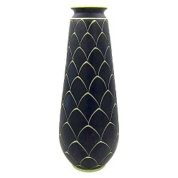 Norwegian Larholm Keramikk Scandinavian Modern Vase in Black and Green