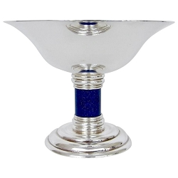 Puiforcat French Art Deco Silver-plated Tazza with a Faux Lapis Lazuli Stem