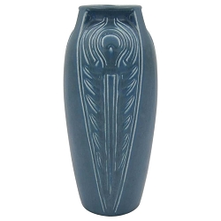 Rookwood Pottery Blue Peacock Feather Vase, 1921