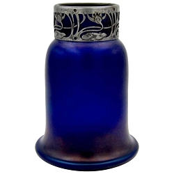 Austrian Iridescent Blue Art Glass Vase with an Art Nouveau Silver Metal Collar
