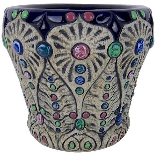 Vintage Amphora Pottery Jeweled Art Nouveau Cachepot Planter