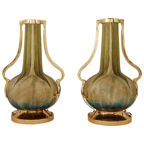 Amphora Pottery Vase Pair with Gold Metal Mounts, Paul Dachsel Attr.