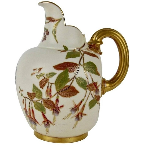 Antique Royal Worcester Porcelain Hand Painted Flat Back Pitcher, 1890