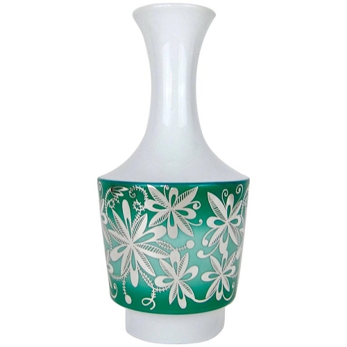 Spahr & Co. Silver Overlay Vase in Green and White Edelstein Porcelain
