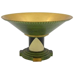 French Art Deco Coupe in Gilt and Verdigris Metal, Ebony, and Celluloid