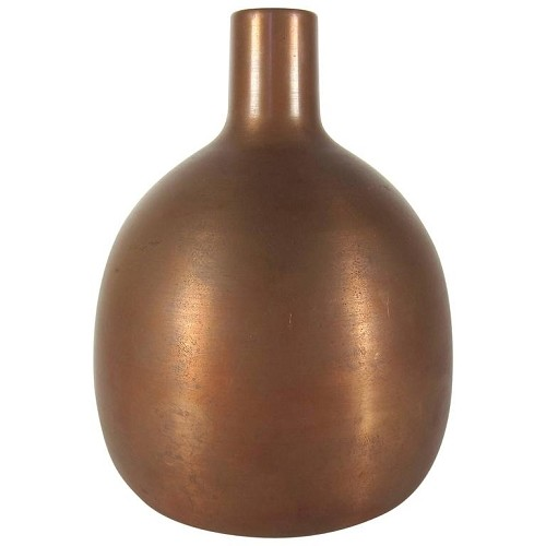 Chinese Form Bottle Vase in Copper with Natural Brown Patina by Marie Zimmermann