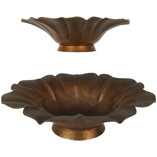 Marie Zimmermann American Arts & Crafts Footed Flower Bowls