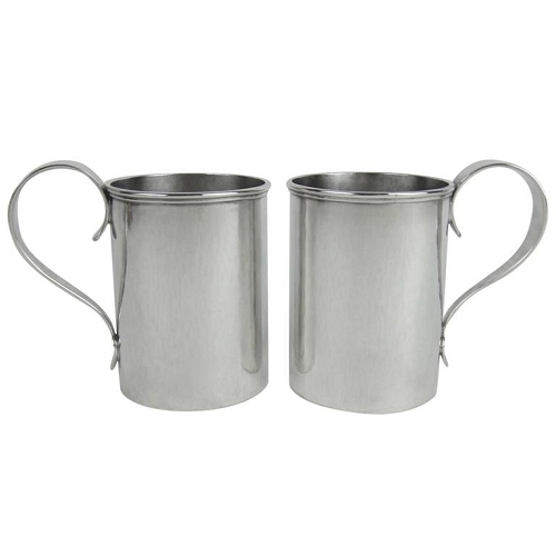 American Arts & Crafts Sterling Silver Mug Pair by Marie Zimmermann